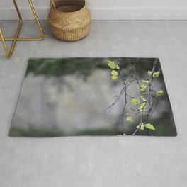 Birch Leaves and Branch Rug