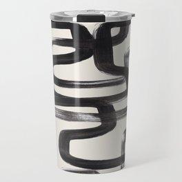 Mid Century Modern Minimalist Abstract Art Brush Strokes Black & White Ink Art Pipe Maze Travel Mug
