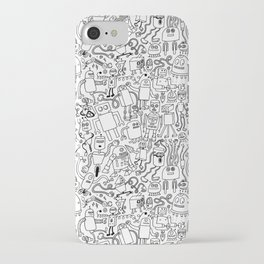 Infinity Robots Black & White iPhone Case