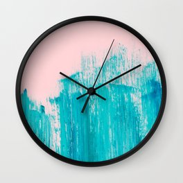 Bright Teal Painted Brushstrokes on Pastel Pink Wall Clock