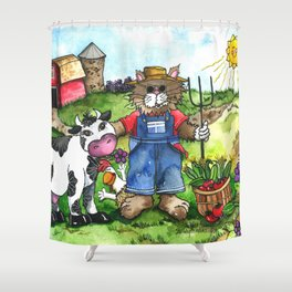 Farmer Fluffy at Harvest Time Shower Curtain