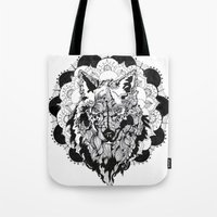 bad wolf Tote Bags featuring Bad Wolf by Carina Maitch