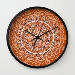 Detailed Burnt Orange Mandala Wall Clock