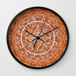 Detailed Burnt Orange Mandala Wall Clock