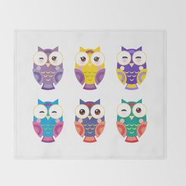 bright colorful owls on white background Throw Blanket