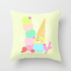 I love Icecream Throw Pillow