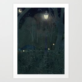 fox at night Art Print