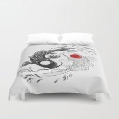 Koi fish ying yang Duvet Cover