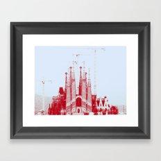 Barcelona under construction. Framed Art Print