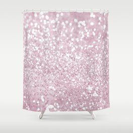 Elegant Girly Pink White Faux Glitter Shower Curtain