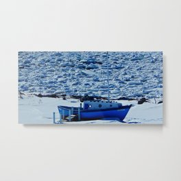 Boat in Frozen land Metal Print