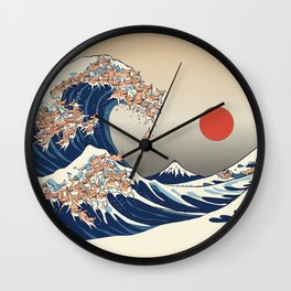 The Great Wave of Chihuahua Wall Clock
