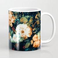 vintage floral Mugs featuring Vintage Floral by Burcu Korkmazyurek