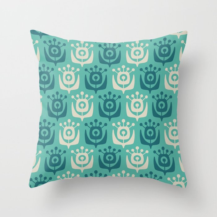 Mid Century Modern Retro Flower Pattern Turquoise and Teal 931 Throw Pillow