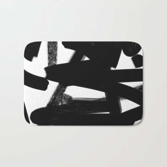 Thinking Out Loud - Black and white abstract painting, raw brush strokes Bath Mat