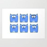 Cat Expressions Art Print