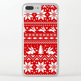 Bunnies Holiday Patterm Clear iPhone Case