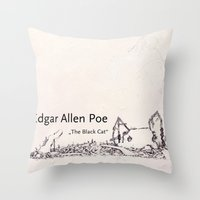edgar allen poe Throw Pillows featuring Edgar Allen Poe by Andreas Derebucha