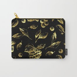Faux gold foil grapes and leafs pattern on black Carry-All Pouch