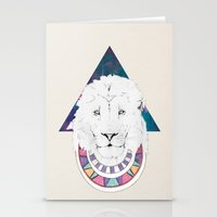 lion king Stationery Cards featuring King Lion by Katell Desormeaux