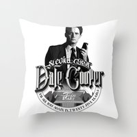 dale cooper Throw Pillows featuring Dale Cooper - Twin Peaks by KevinART