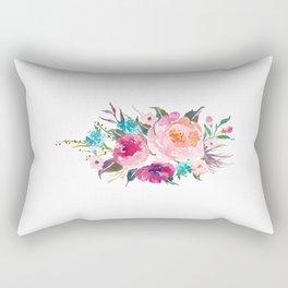 Watercolor Turquoise Pink Flower Bouquet Rectangular Pillow