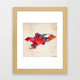 Kyrgyzstan map painting square 2 Framed Art Print