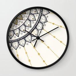 Mandala - Gold and Black Wall Clock