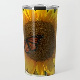 The butterfly the bee and the sunflower Travel Mug