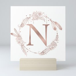 Letter N Rose Gold Pink Initial Monogram Mini Art Print
