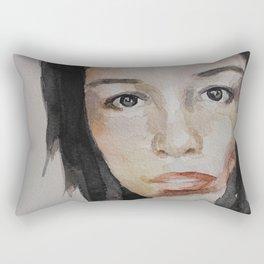Watercolor painting, portrait beautiful girl Rectangular Pillow