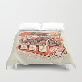 Kaiju street food Duvet Cover