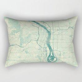 Portland Map Blue Vintage Rectangular Pillow