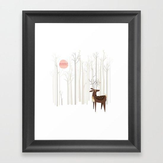 Reindeer of the Silver Wood Framed Art Print