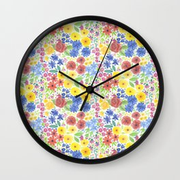 Floral watercolor pattern white Wall Clock