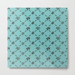 Floral Geometric Pattern Chocolate Brown Aqua Sky Metal Print