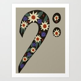 Sunflower Bass Clef Music Lover  Art Print
