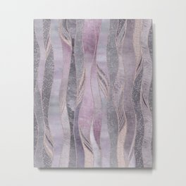 Glamorous Rose Gold Purple Wavy Glitter Lines Metal Print