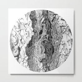 Ponderosa Pine- Tree Bark Circle Metal Print