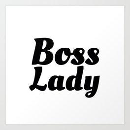 Boss Lady in Cursive Black Art Print