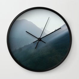 Hazy Days in Mountain Ranges Wall Clock