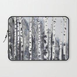 birch forest black white Laptop Sleeve