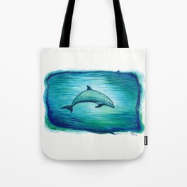"""Indigo Lagoon"" by Amber Marine ~ Watercolor Dolphin Painting, (Copyright 2015) Tote Bag"