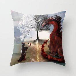 The Owl,Wizard,Unicorn and the Dragon Throw Pillow