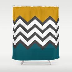 Color Blocked Chevron Shower Curtain