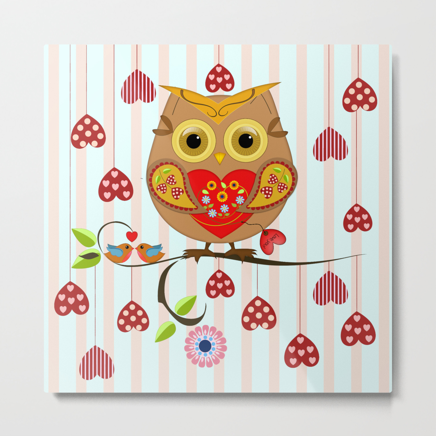 Valentine S Day Owl With Hearts Metal Print By Walstraasart Society6