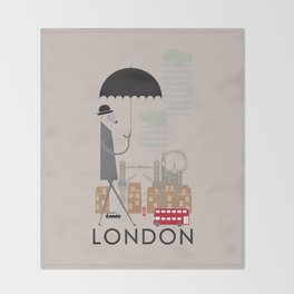 London - In the City - Retro Travel Poster Design Throw Blanket