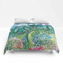 cheerful handmade embroidery in the digital world Comforters