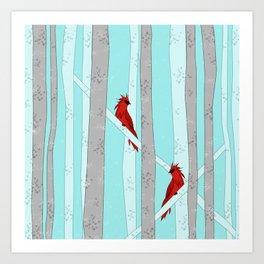 Holiday Forest Cardinals Design Art Print