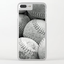 Vintage Baseballs in Black and White Clear iPhone Case